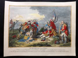 James Gillray 1851 HCol Caricature Print. The Death of the Great Wolf. Canada